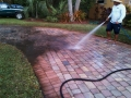 These pavers, view #6, see the difference the acid wash and the  pressure washing makes as we begin the high pressure rinse