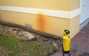 Pressure washing to remove rust stains