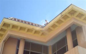 6th floor Mansard tile roof line, flashing & trim