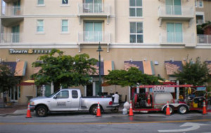 Ultra Pressure Cleaning rig outside Panera Bread