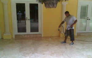 Sealing marble pool patio with acrylic sealer & anti-slip material