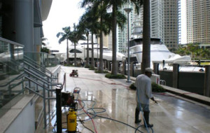 Pressure cleaning and sanitizing terrace of Zuma Restaurant