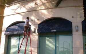 Pressure cleaning canvas awning