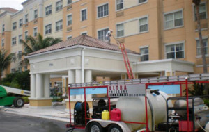 Ultra Pressure Cleaning equipment outside Extended Stay Hotel Doral