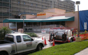 Local hospital construction cleanup
