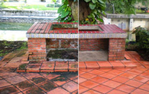 Heavily molded tiled barbecue pit (before & after)