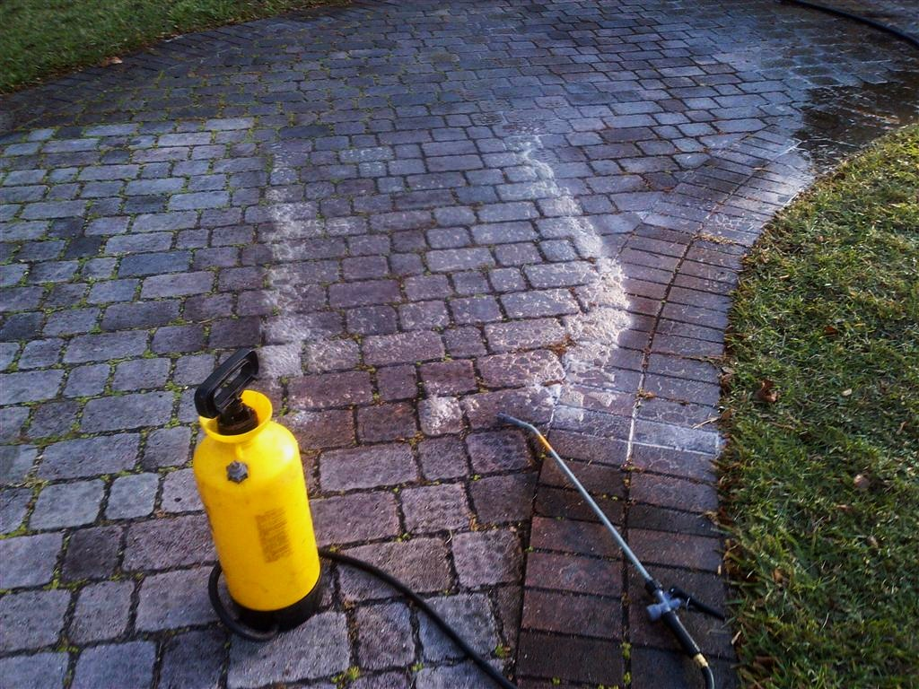These pavers, view #1, in the process of a vigorous acid wash to restore their luster