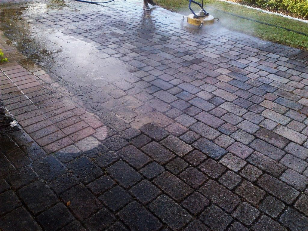 These pavers, view #4, see the difference the acid wash and the  pressure washing makes
