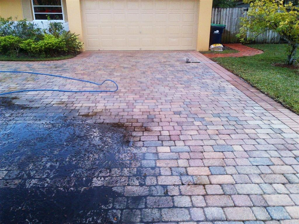 These pavers, view #7, see the difference the acid wash and the  pressure washing has made after the high pressure rinse