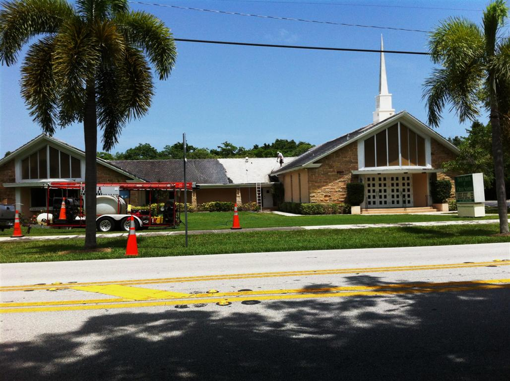 283295-ultra pressure cleaning in the process of pressure cleaning this church's 10,000+ sq. ft. tile roof, 7-2012