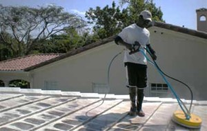Rotary surface cleaner on tile roof